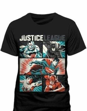 JUSTICE LEAGUE T-SHIRT POP ART M